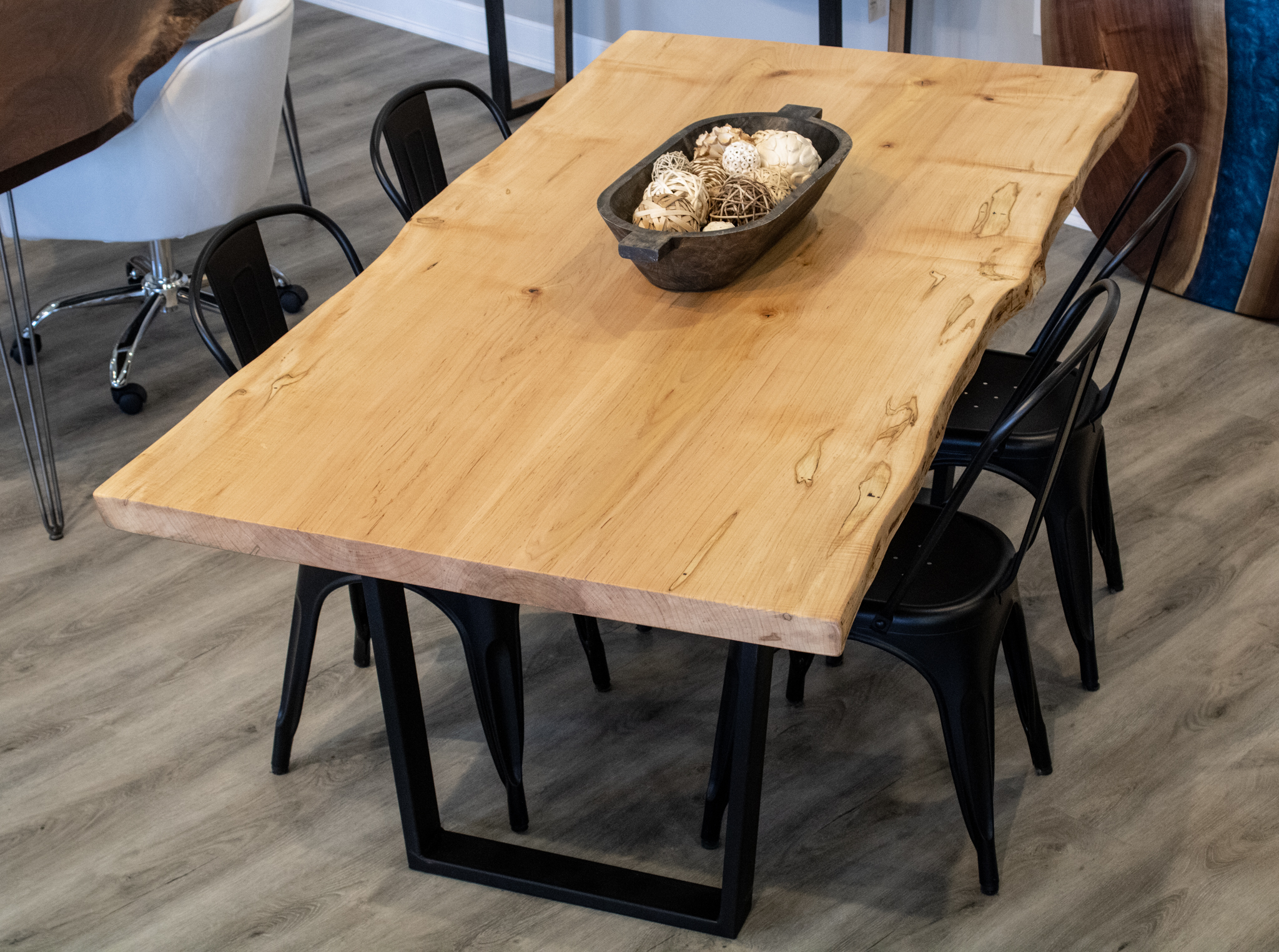 Olympic Live Edge Maple Dining Table, Maple Wood Dining Room Furniture